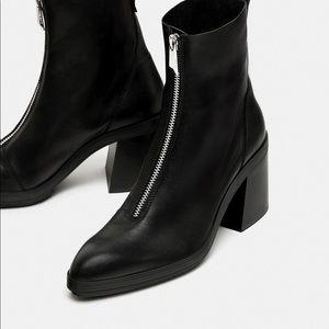Zara Black Leather Block Heel Ankle Boots Zipper